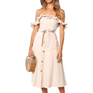 Off The Shoulder Ruffled Midi Tie Waist Dress
